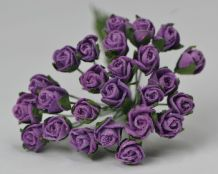 8mm DARK LILAC VIOLET SEMI-OPEN ROSE BUDS Mulberry Paper Flowers